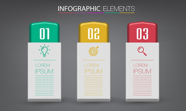 Modelo de caixa de texto 3d moderno, banner infográficos
