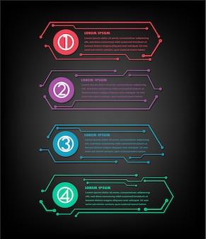 Modelo de caixa de texto cyber circuito, banner infográfico