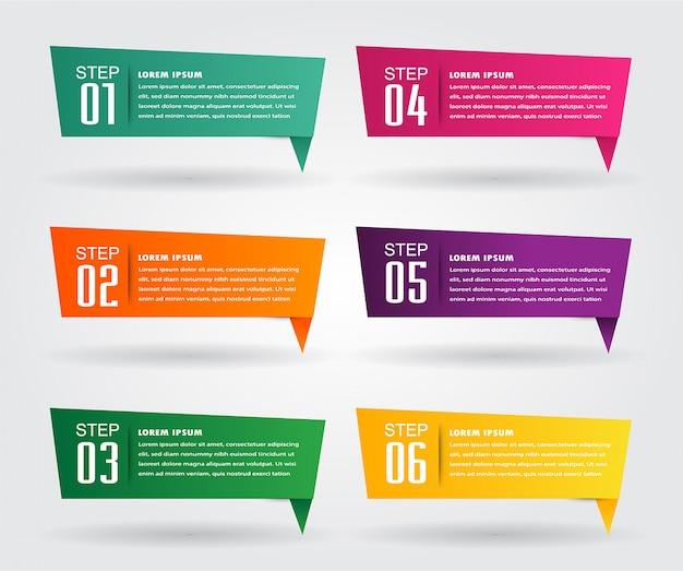 Modelo de caixa de texto de papel moderno, infográfico de banner