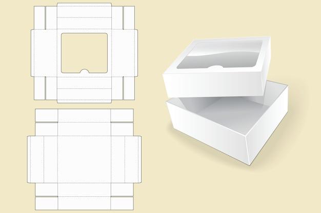 Modelo de caixa. embalagem. caixa de papelão branca. caixa de papelão branco aberta