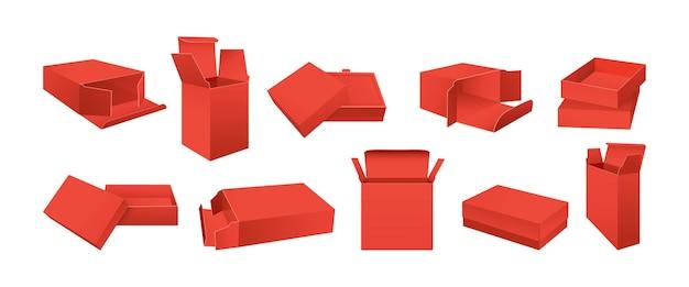 Modelo de caixa vermelha conjunto maquete embalagem de produto realista em branco