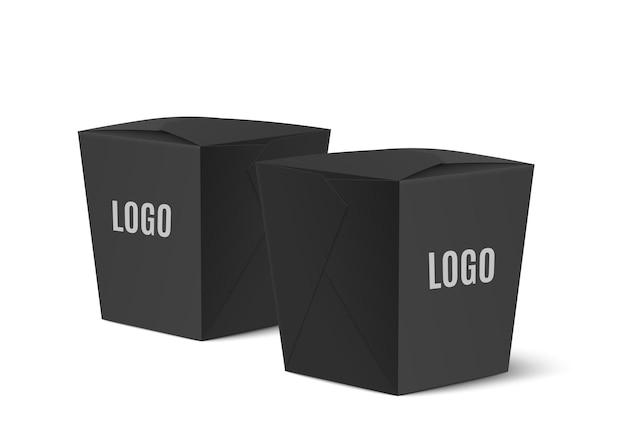 Modelo de caixas de comida de papelão preto para restaurante