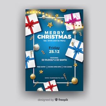 Modelo de caixas de presente de cartaz de natal