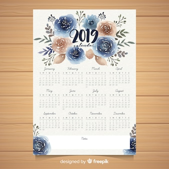 Modelo de calendário 2019 floral em aquarela