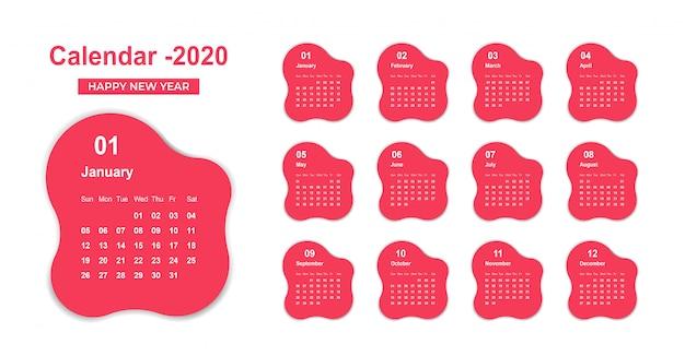 Modelo de calendário 2020 de bolso