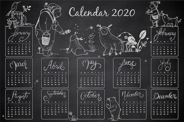 Modelo de calendário 2020 de mão desenhada
