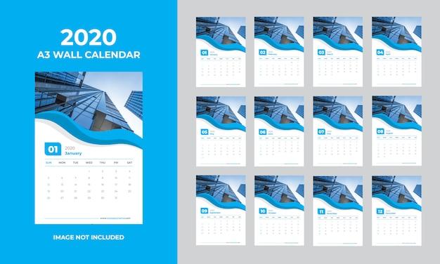 Modelo de calendário 2020 de parede a3