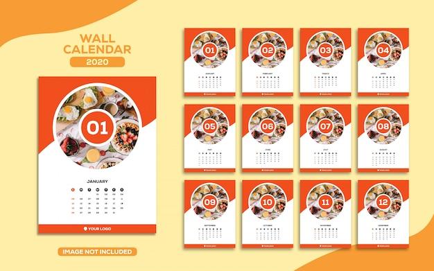 Modelo de calendário 2020 de parede de alimentos