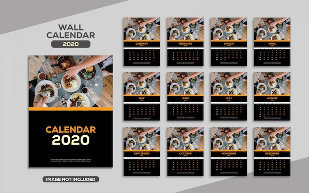 Modelo de calendário 2020 elegante parede luxo
