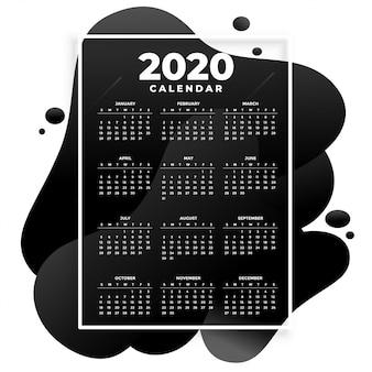 Modelo de calendário 2020 moderno preto absract