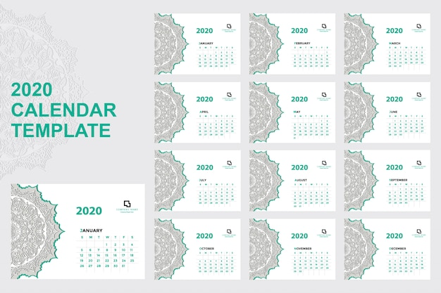 Modelo de calendário 2020