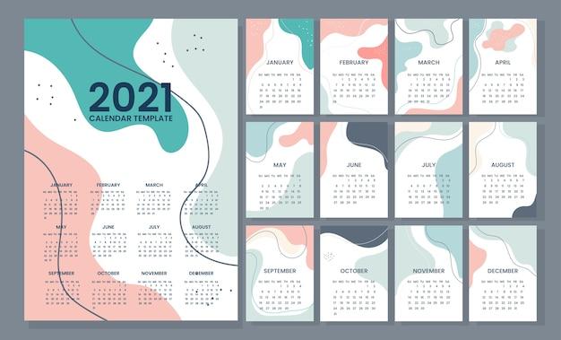 Modelo de calendário 2021 colorido abstrato