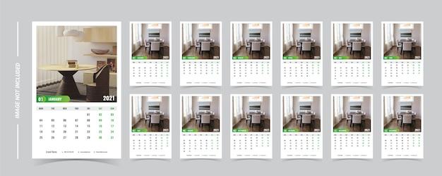 Modelo de calendário 2021 com foto