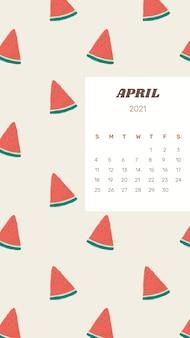 Modelo de calendário 2021 de abril com fundo de melancia fofo