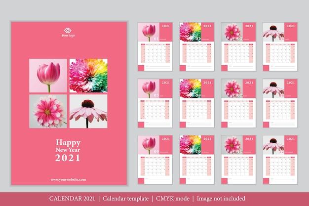 Modelo de calendário 2021 de design moderno