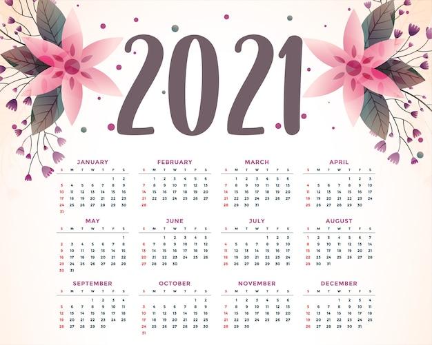 Modelo de calendário 2021 decorativo com flores elegantes
