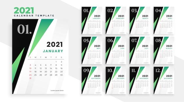 Modelo de calendário 2021 em design de estilo geométrico