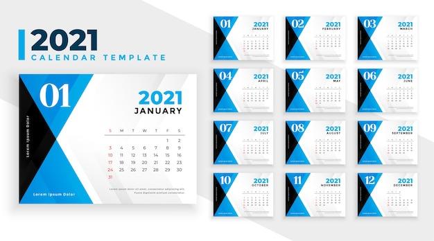 Modelo de calendário 2021 em estilo de formas abstratas em azul