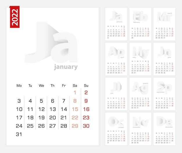 Modelo de calendário 2022, calendário minimalista definido para 2022 anos.