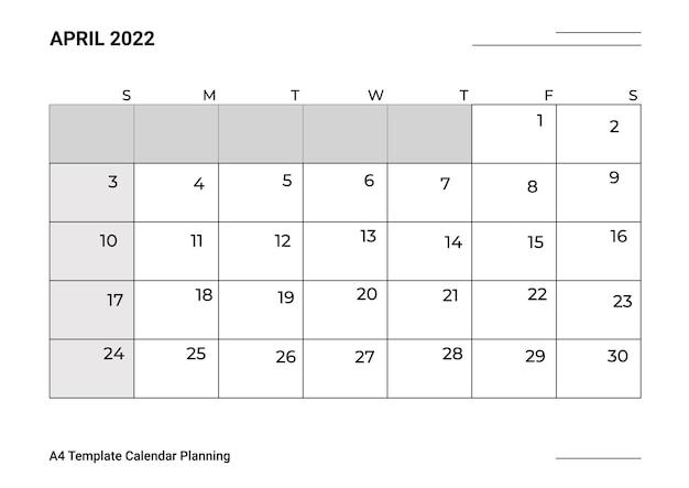 Modelo de calendário a4, planejamento de abril
