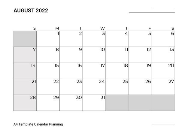 Modelo de calendário a4, planejamento de agosto