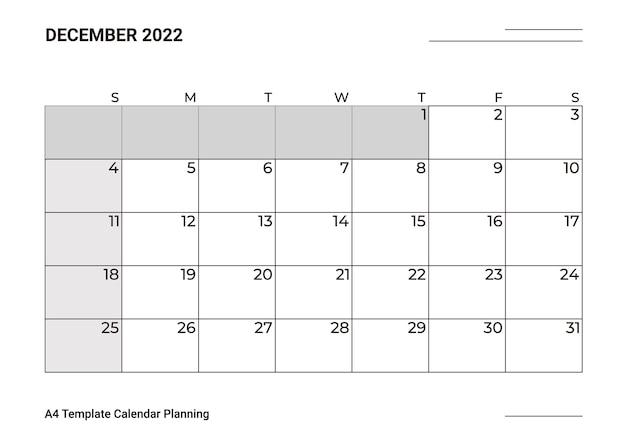 Modelo de calendário a4, planejamento de dezembro