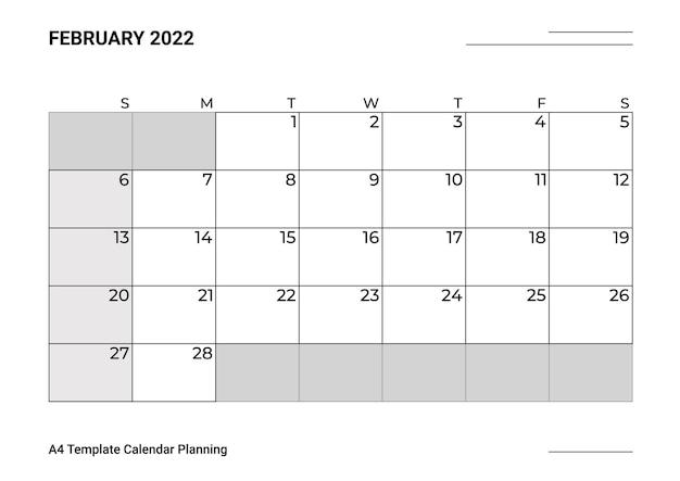 Modelo de calendário a4, planejamento de fevereiro