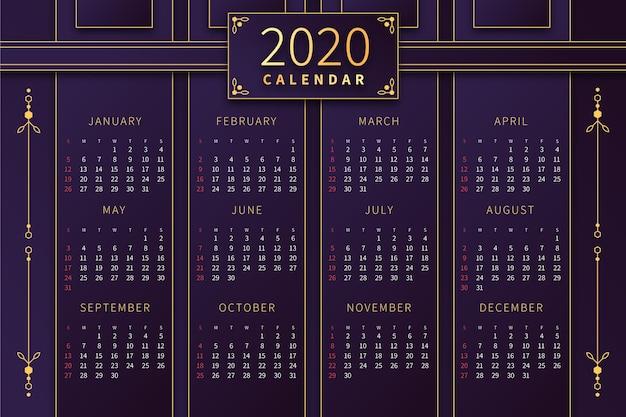 Modelo de calendário abstrato 2020