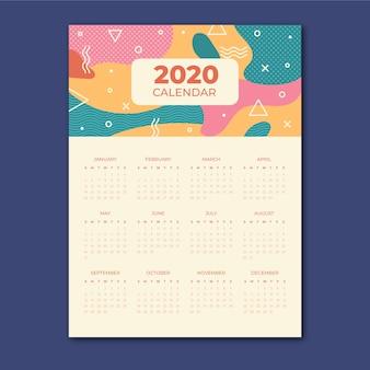 Modelo de calendário abstrato colorido com formas de geometria. modelo de calendário 2020.