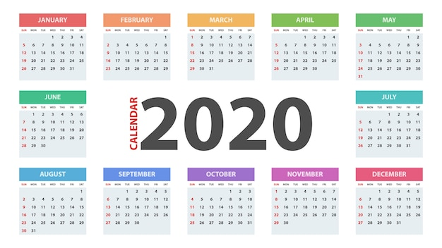 Modelo de calendário ano 2020