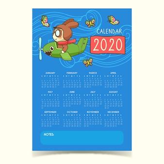 Modelo de calendário bonito 2020
