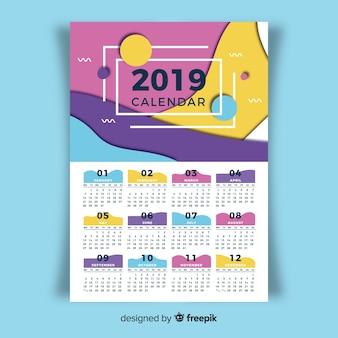Modelo de calendário bonito de 2019