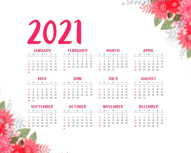 Modelo de calendário bonito estilo flor 2021