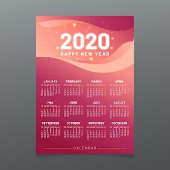 Modelo de calendário colorido 2020