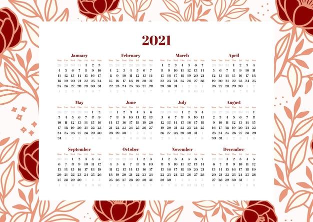 Modelo de calendário com decoração de clipart de flores e folhas desenhada à mão
