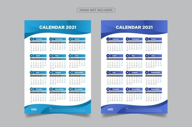 Modelo de calendário com formas abstratas