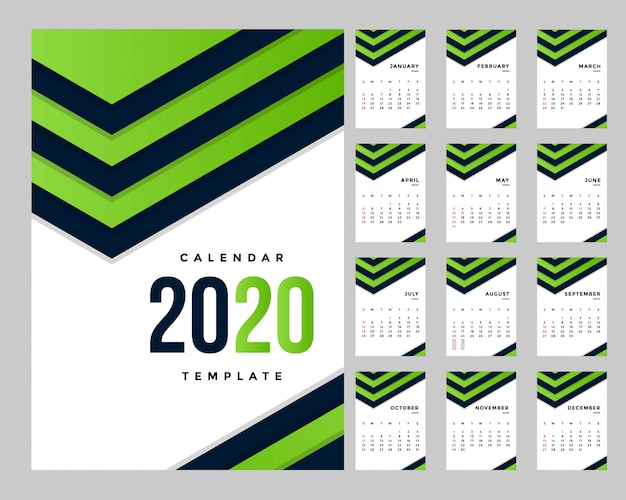 Modelo de calendário corporativo moderno a4