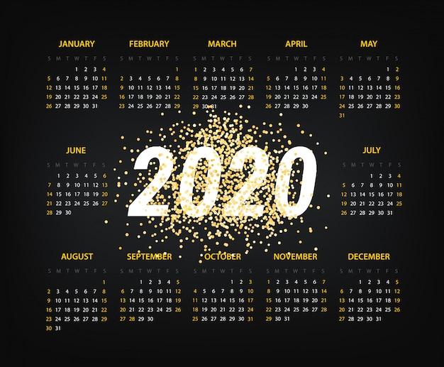 Modelo de calendário de 2020 ano