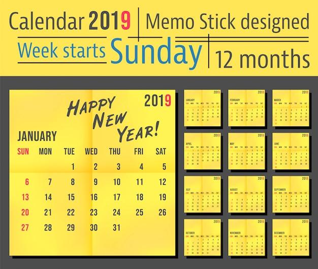 Modelo de calendário de ano 2019, projeto de pau amarelo memo. semana começa domingo