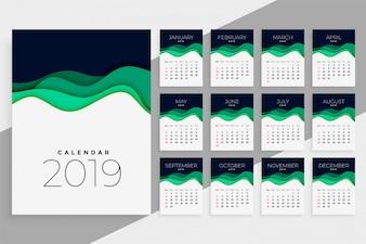 Modelo de calendário de ano novo 2019