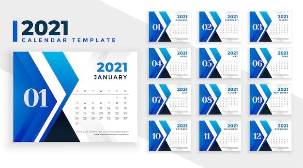 Modelo de calendário de ano novo azul abstrato 2021