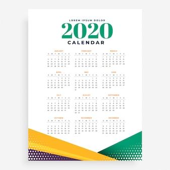 Modelo de calendário de ano novo de 2020