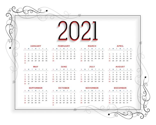 Modelo de calendário de ano novo em estilo floral