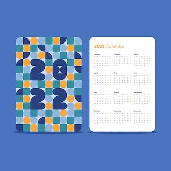 Modelo de calendário de bolso de design vertical 2022 com padrão abstrato geométrico colorido