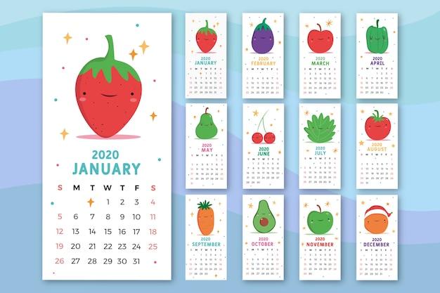 Modelo de calendário de comida