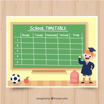 Modelo de calendário de escola engraçado com design plano