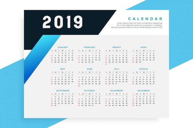 Modelo de calendário de estilo de negócios 2019