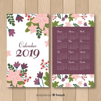 Modelo de calendário de flores desenhadas a mão