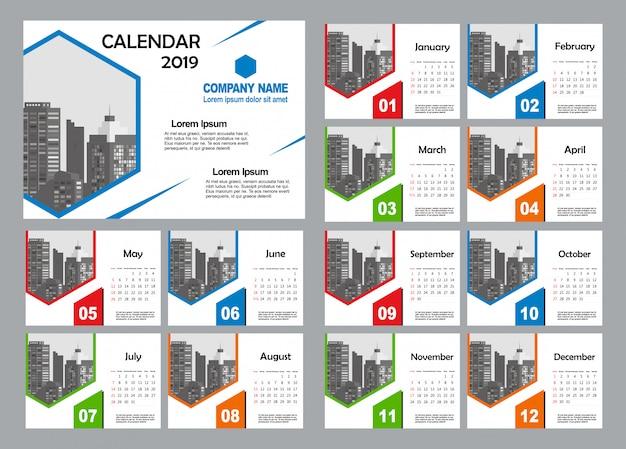 Modelo de calendário de mesa 2019 - 12 meses incluídos - arte moderna gradiente tema