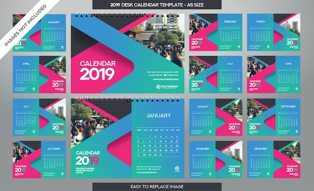 Modelo de calendário de mesa 2019